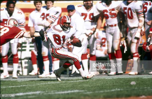 Wide receiver Billy Johnson of the Atlanta Falcons avoids a tackle in a 145 win over the San Francisco 49ers on September 30 1984 at Candlestick Park...