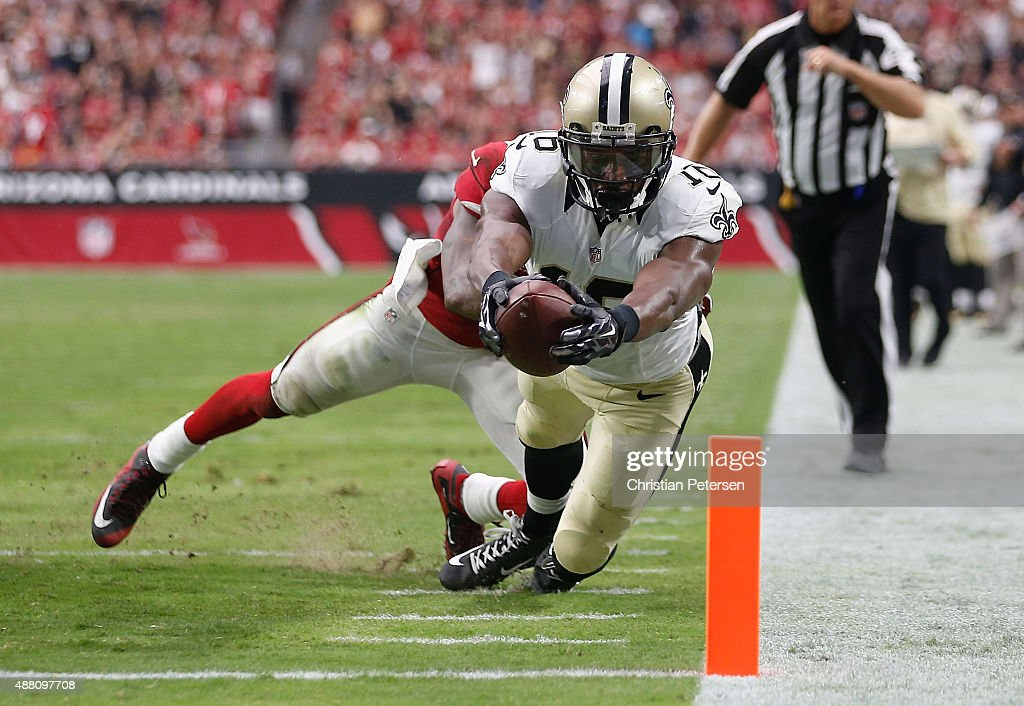 Wide receiver Brandon Coleman of the New Orleans Saints stretches for the end zone on a 12 yard touchdown during thesecond quarter of the NFL game...