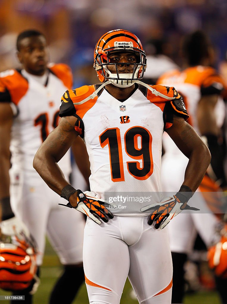 Wide receiver <a gi-track='captionPersonalityLinkClicked' href=/galleries/search?phrase=Brandon+Tate&family=editorial&specificpeople=2212711 ng-click='$event.stopPropagation()'>Brandon Tate</a> #19 of the Cincinnati Bengals looks on from the sidelines during the closing moments of the Bengals 44-13 loss to the Baltimore Ravens at M&T Bank Stadium on September 10, 2012 in Baltimore, Maryland.