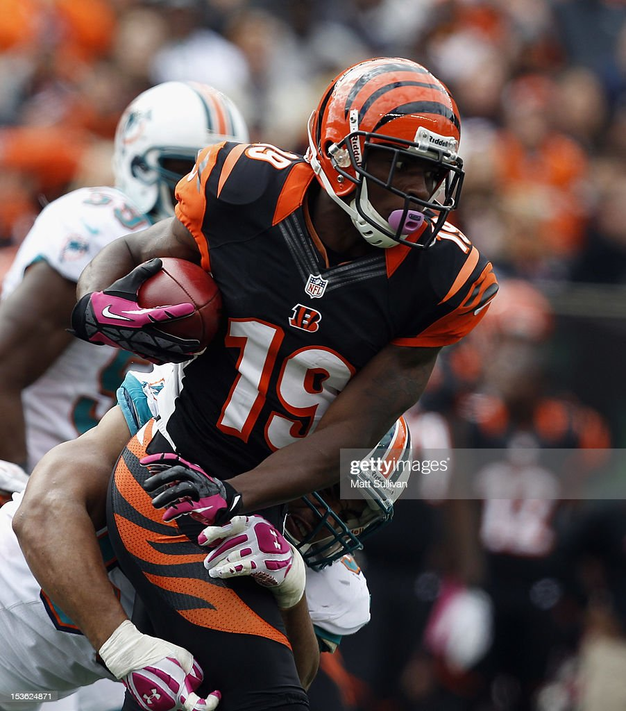 Wide receiver <a gi-track='captionPersonalityLinkClicked' href=/galleries/search?phrase=Brandon+Tate&family=editorial&specificpeople=2212711 ng-click='$event.stopPropagation()'>Brandon Tate</a> #19 of the Cincinnati Bengals runs the ball by linebacker Kevin Burnett #56 of the Miami Dolphins at Paul Brown Stadium on October 7, 2012 in Cincinnati, Ohio.