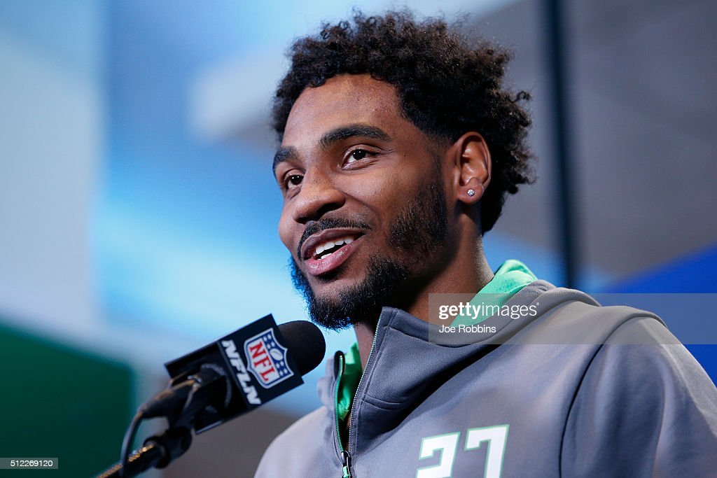 Wide receiver <a gi-track='captionPersonalityLinkClicked' href=/galleries/search?phrase=Braxton+Miller&family=editorial&specificpeople=7122480 ng-click='$event.stopPropagation()'>Braxton Miller</a> #27 of Ohio State speaks to the media during the 2016 NFL Scouting Combine at Lucas Oil Stadium on February 25, 2016 in Indianapolis, Indiana.