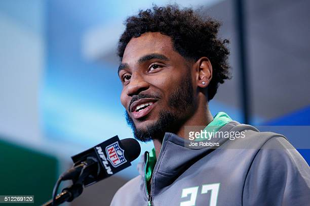 Wide receiver Braxton Miller of Ohio State speaks to the media during the 2016 NFL Scouting Combine at Lucas Oil Stadium on February 25 2016 in...
