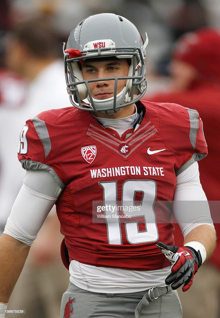 Wide receiver Brett Bartolone #19 of the Washington State Cougars during warm ups prior to the start of the Apple Cup game against the Washington Huskies at Martin Stadium on November 23, 2012 in Pullman, Washington.