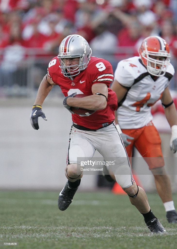 Wide receiver Brian Hartline of the Ohio State Buckeyes runs with the ball during the game against the Bowling Green Falcons at Ohio Stadium on...