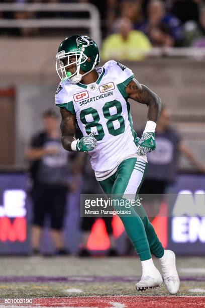 Wide receiver Caleb Holley of the Saskatchewan Roughriders runs against the Montreal Alouettes during the CFL game at Percival Molson Stadium on June...