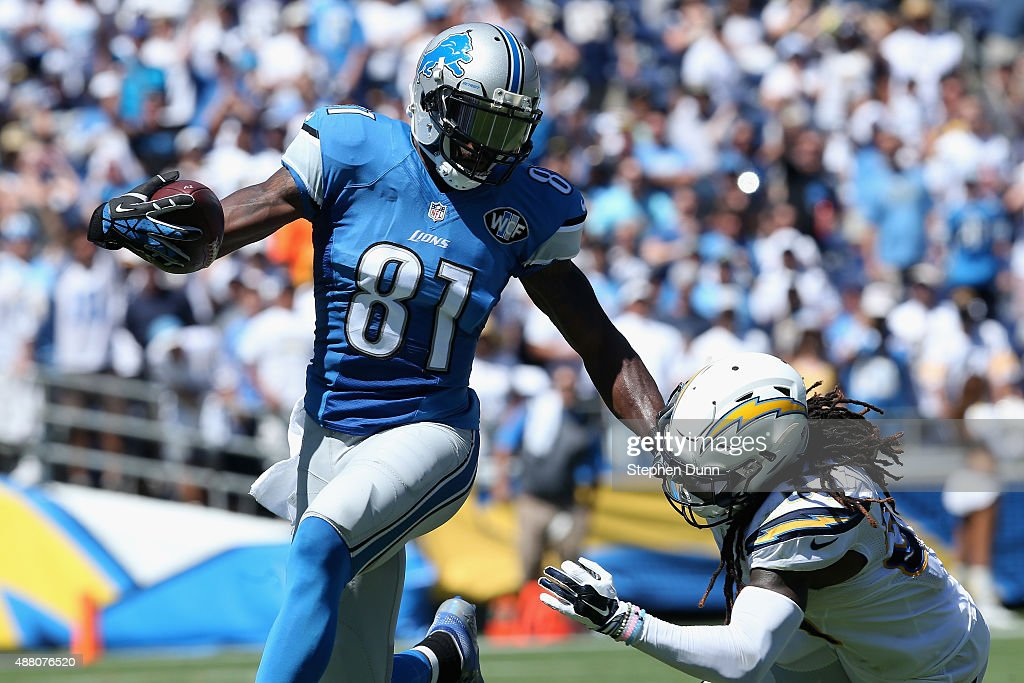 Wide receiver <a gi-track='captionPersonalityLinkClicked' href=/galleries/search?phrase=Calvin+Johnson+-+American+Football+Player&family=editorial&specificpeople=2253942 ng-click='$event.stopPropagation()'>Calvin Johnson</a> #81 of the Detroit Lions is tackled by defensive back <a gi-track='captionPersonalityLinkClicked' href=/galleries/search?phrase=Jahleel+Addae&family=editorial&specificpeople=6579957 ng-click='$event.stopPropagation()'>Jahleel Addae</a> #37 of the San Diego Chargers at Qualcomm Stadium on September 13, 2015 in San Diego, California.