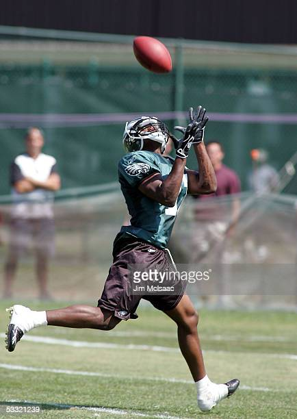 Wide receiver Carlos Perez of the Philadelphia Eagles makes a catch during training camp on the practice field at Lehigh University on August 3 2005...