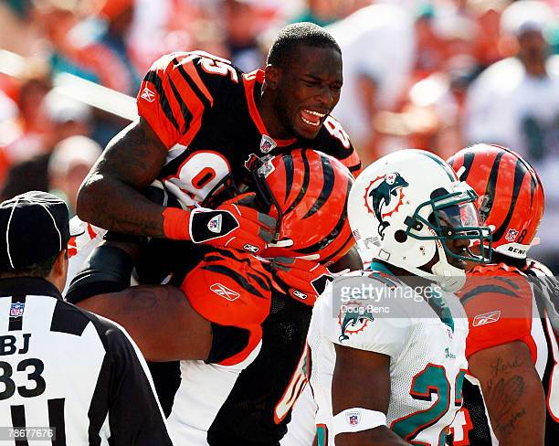 Wide receiver Chad Johnson of the Cincinnati Bengals celebrates his first touchdown of the game against the Miami Dolphins at Dolphin Stadium on...