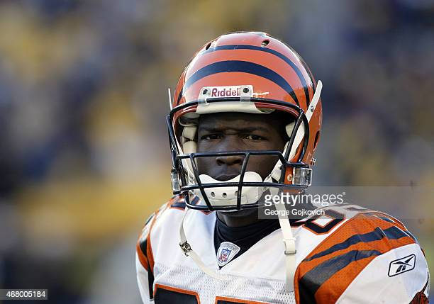 Wide receiver Chad Johnson of the Cincinnati Bengals looks on from the sideline during a National Football League game against the Pittsburgh...