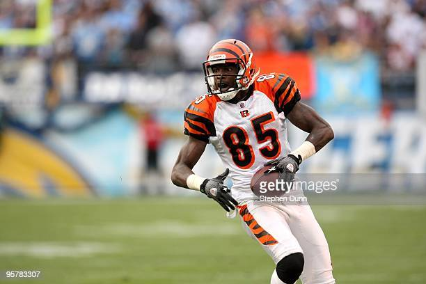 Wide receiver Chad Ochocinco of the Cincinnati Bengals carries the ball against the San Diego Chargers on December 20 2009 at Qualcomm Stadium in San...