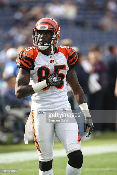 Wide receiver Chad Ochocinco of the Cincinnati Bengals on the field in warmups against the San Diego Chargers on December 20 2009 at Qualcomm Stadium...