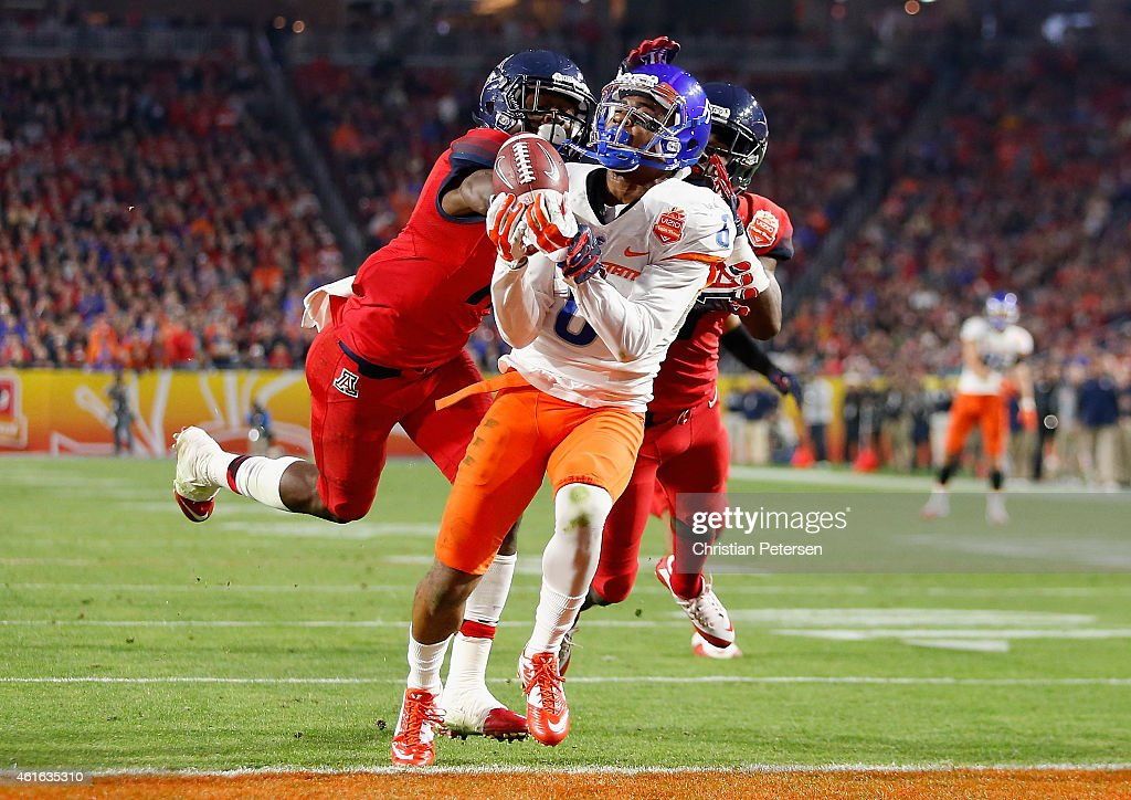 Wide receiver Chaz Anderson #6 of the Boise State Broncos is unable to make a catch defended by the Arizona Wildcats during the Vizio Fiesta Bowl at University of Phoenix Stadium on December 31, 2014 in Glendale, Arizona.