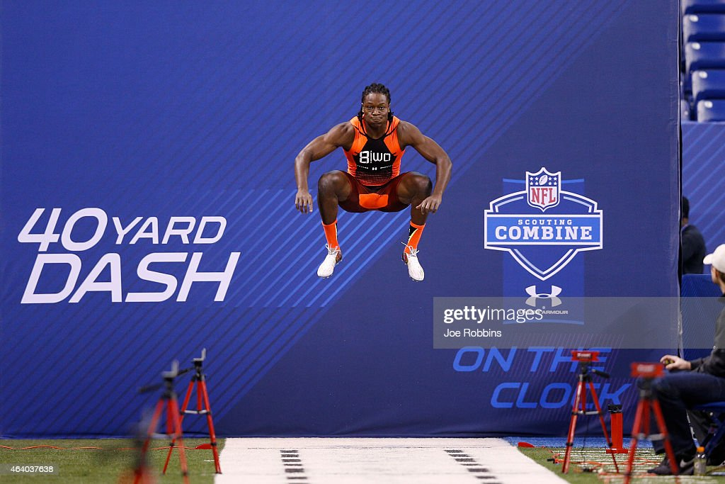 Wide receiver Chris Conley of Georgia gets ready to run the 40yard dash during the 2015 NFL Scouting Combine at Lucas Oil Stadium on February 21 2015...