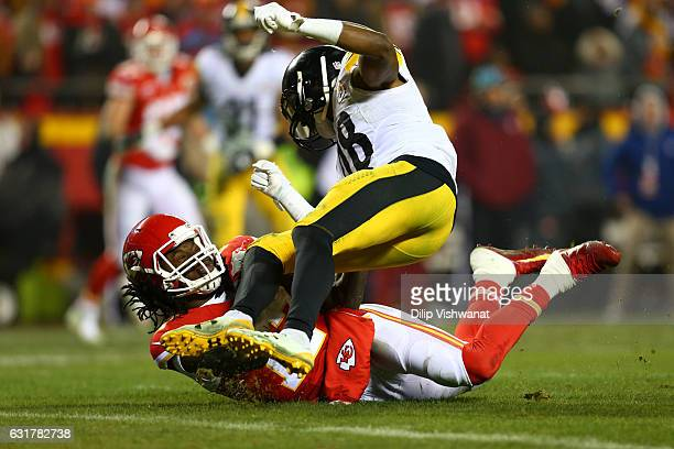 Wide receiver Chris Conley of the Kansas City Chiefs is hit by outside linebacker Bud Dupree of the Pittsburgh Steelers on a catch attempt during the...