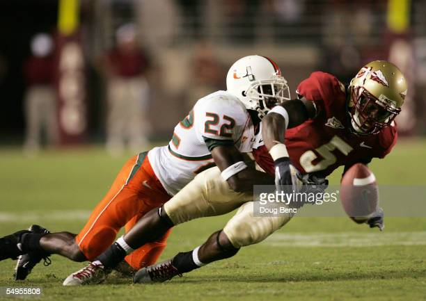 Wide receiver Chris Davis of the Florida State Seminoles has a pass knocked away by defensive back Kelly Jennings of the Miami Hurricanes at Doak...