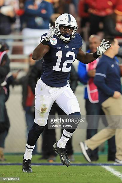 Wide receiver Chris Godwin of the Penn State Nittany Lions celebrates after catching a 30yard touchdown pass in the second quarter against the USC...