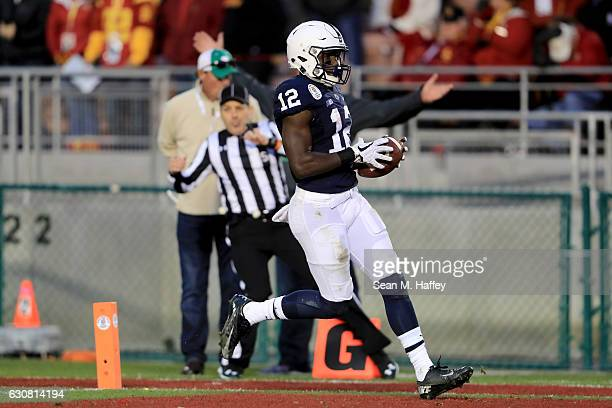 Wide receiver Chris Godwin of the Penn State Nittany Lions scores a 72yard touchdown in the third quarter against the USC Trojans during the 2017...