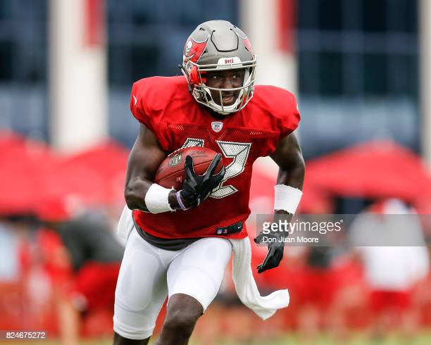Wide Receiver Chris Godwin of the Tampa Bay Buccaneers works out during Training Camp at One Buc Place on July 30 2017 in Tampa Florida