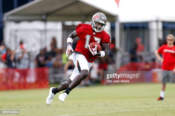 Wide Receiver Chris Godwin of the Tampa Bay Buccaneers works out during Training Camp at One Buc Place on July 29 2017 in Tampa Florida