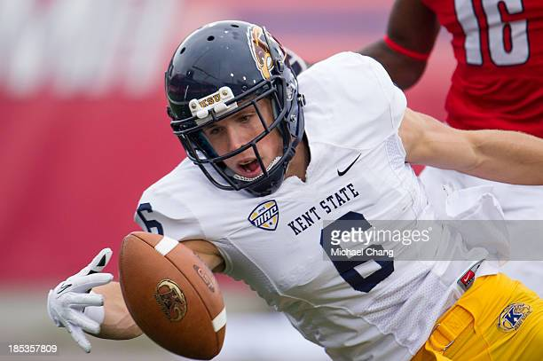 Wide receiver Chris Humphrey of the Kent State Golden Flashes attempts to catch a ball during their game against the South Alabama Jaguars on October...