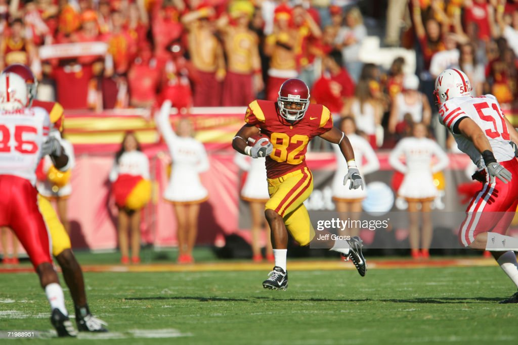 Wide receiver Chris McFoy #82 of the University of Southern California Trojans carries the ball during the game against the University of Nebraska Cornhuskers at the Los Angeles Memorial Coliseum on September 16, 2006 in Los Angeles, California. USC won 28-10.