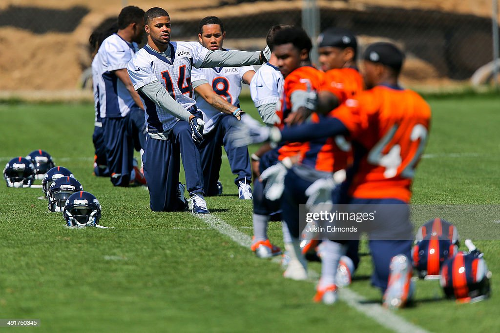Wide receiver Cody Latimer of the Denver Broncos stretches during rookie minicamp at Dove Valley on May 17 2014 in Englewood Colorado