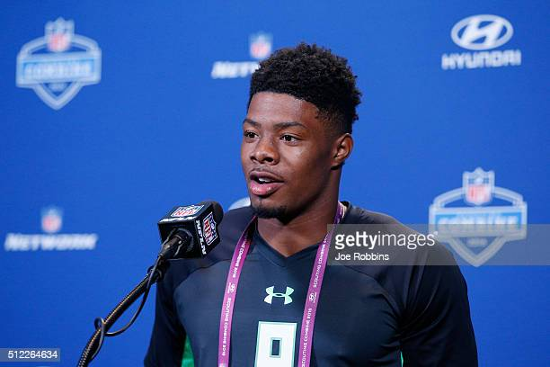 Wide receiver Corey Coleman of Baylor speaks to the media during the 2016 NFL Scouting Combine at Lucas Oil Stadium on February 25 2016 in...