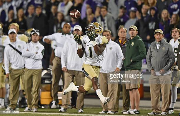 Wide receiver Corey Coleman of the Baylor Bears catches a touchdown pass against the Kansas State Wildcats during the first half on November 5 2015...