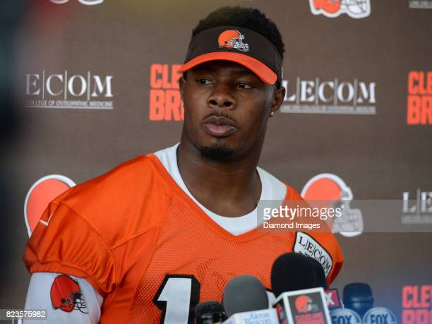 Wide receiver Corey Coleman of the Cleveland Browns answers questions from the media during a press conference prior to a training camp practice on...