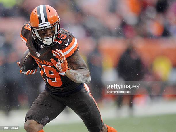 Wide receiver Corey Coleman of the Cleveland Browns carries the ball downfield during a game against the Cincinnati Bengals on December 11 2016 at...