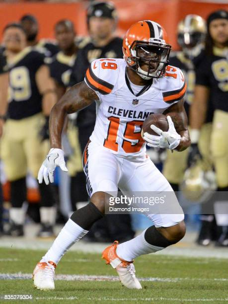 Wide receiver Corey Coleman of the Cleveland Browns carries the ball downfield in the second quarter of a preseason game on August 10 2017 against...