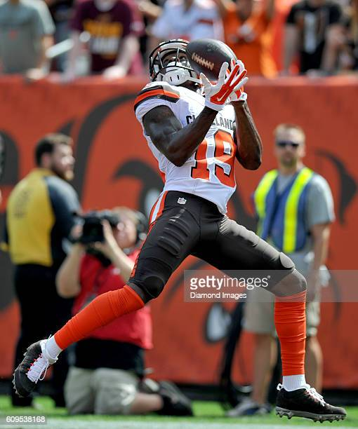 Wide receiver Corey Coleman of the Cleveland Browns catches a touchdown in the first quarter a game against the Baltimore Ravens on September 18 2016...