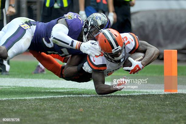 Wide receiver Corey Coleman of the Cleveland Browns dives into the endzone to score a touchdown during game against the Baltimore Ravens on September...
