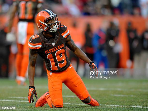 Wide receiver Corey Coleman of the Cleveland Browns kneels on the field after diving to catch a pass during a game against the New York Giants on...