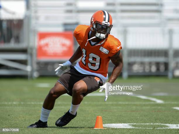 Wide receiver Corey Coleman of the Cleveland Browns runs a route during a training camp practice on August 2 2017 at the Cleveland Browns training...