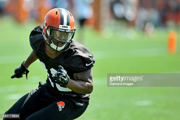 Wide receiver Corey Coleman of the Cleveland Browns runs a route during an OTA practice on May 25 2016 at the Cleveland Browns training facility in...