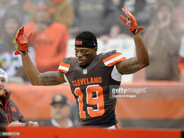 Wide receiver Corey Coleman of the Cleveland Browns runs onto the field as he is introduced to the crowd prior to a game against the San Diego...
