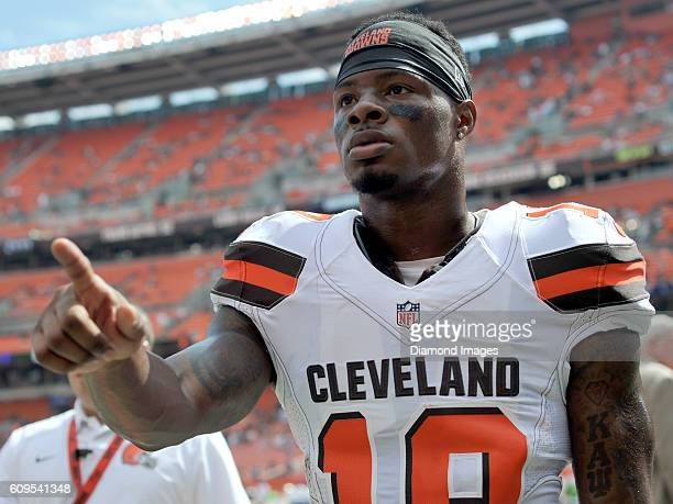 Wide receiver Corey Coleman of the Cleveland Browns walks off the field prior to a game against the Baltimore Ravens on September 18 2016 at...