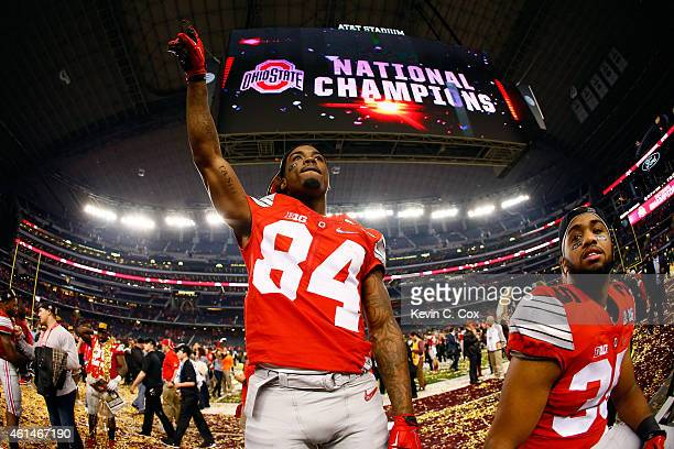Wide receiver Corey Smith of the Ohio State Buckeyes celebrates after defeating the Oregon Ducks 42 to 20 in the College Football Playoff National...