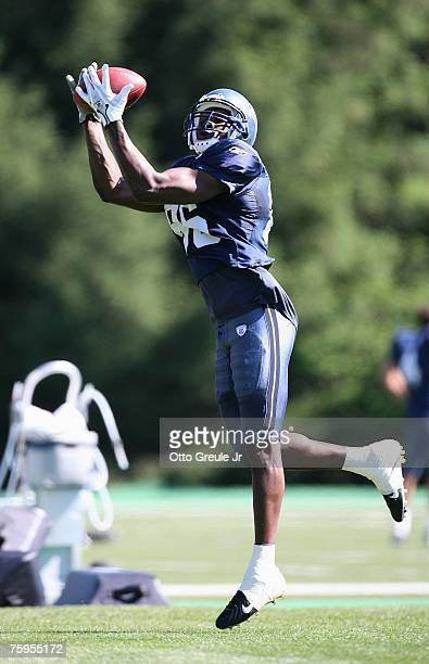 Wide receiver Courtney Taylor of the Seattle Seahawks catches a pass during training camp on July 31 2007 at Seahawks Headquarters in Kirkland...