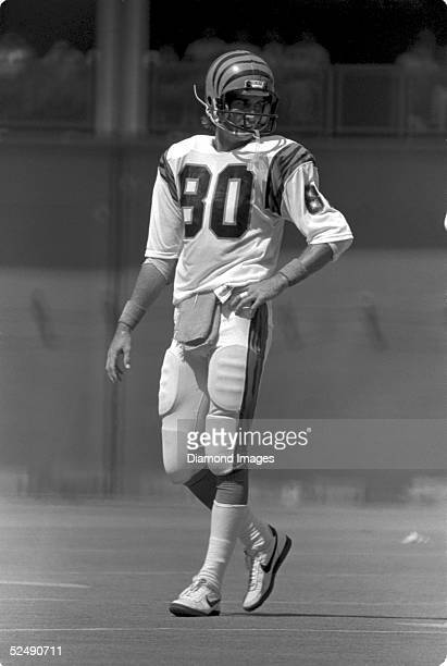 Wide receiver Cris Collinsworth of the Cincinnati Bengals takes his position during a game on September 11 1983 against the Buffalo Bills at...