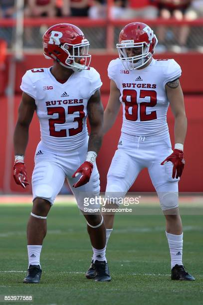 Wide receiver Dacoven Bailey of the Rutgers Scarlet Knights and wide receiver Hunter Hayek await a snap in the game against the Nebraska Cornhuskers...