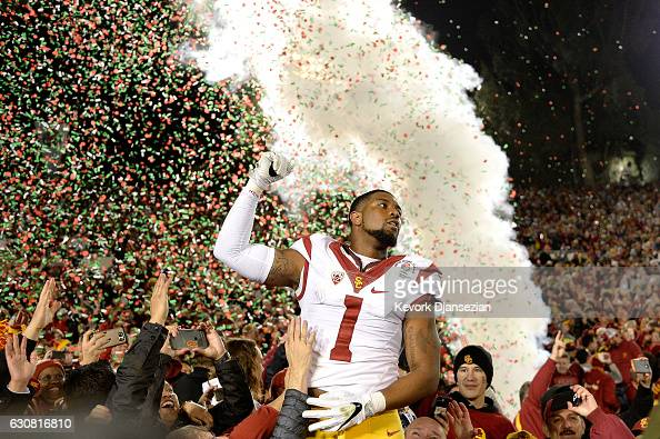 Wide receiver Darreus Rogers of the USC Trojans celebrates after defeating the Penn State Nittany Lions 5249 to win the 2017 Rose Bowl Game presented...