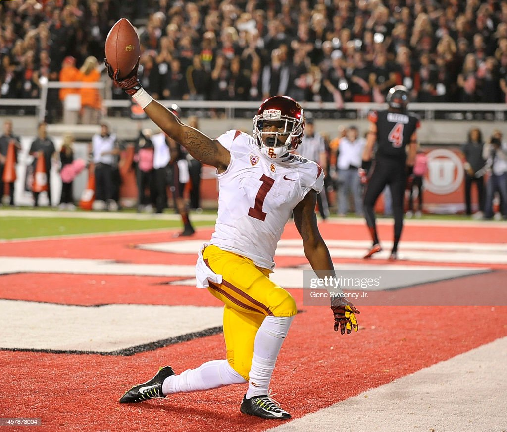 Wide receiver Darreus Rogers #1 of the USC Trojans celebrates his touchdown against the Utah Utes at Rice-Eccles Stadium on October 25, 2014 in Salt Lake City, Utah. The Utah Utes won 24-21.
