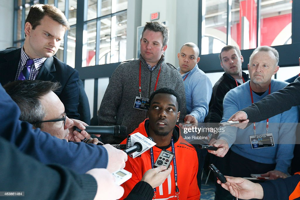 Wide receiver DaVaris Daniels of Notre Dame speaks to the media during the 2015 NFL Scouting Combine at Lucas Oil Stadium on February 19, 2015 in Indianapolis, Indiana.