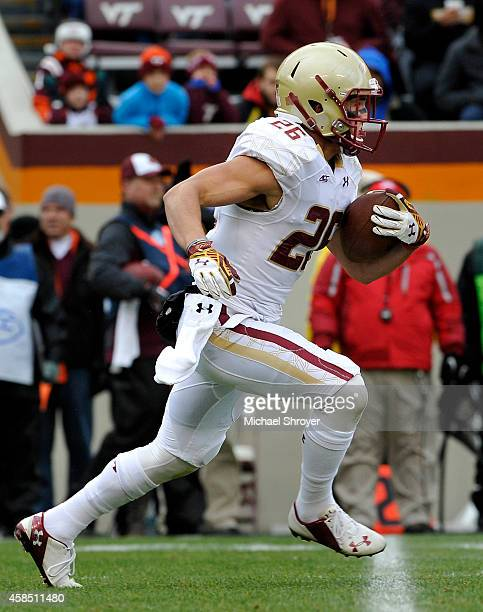 Wide receiver David Dudeck of the Boston College Eagles returns a kick off in the first half against the Virginia Tech Hokies at Lane Stadium on...