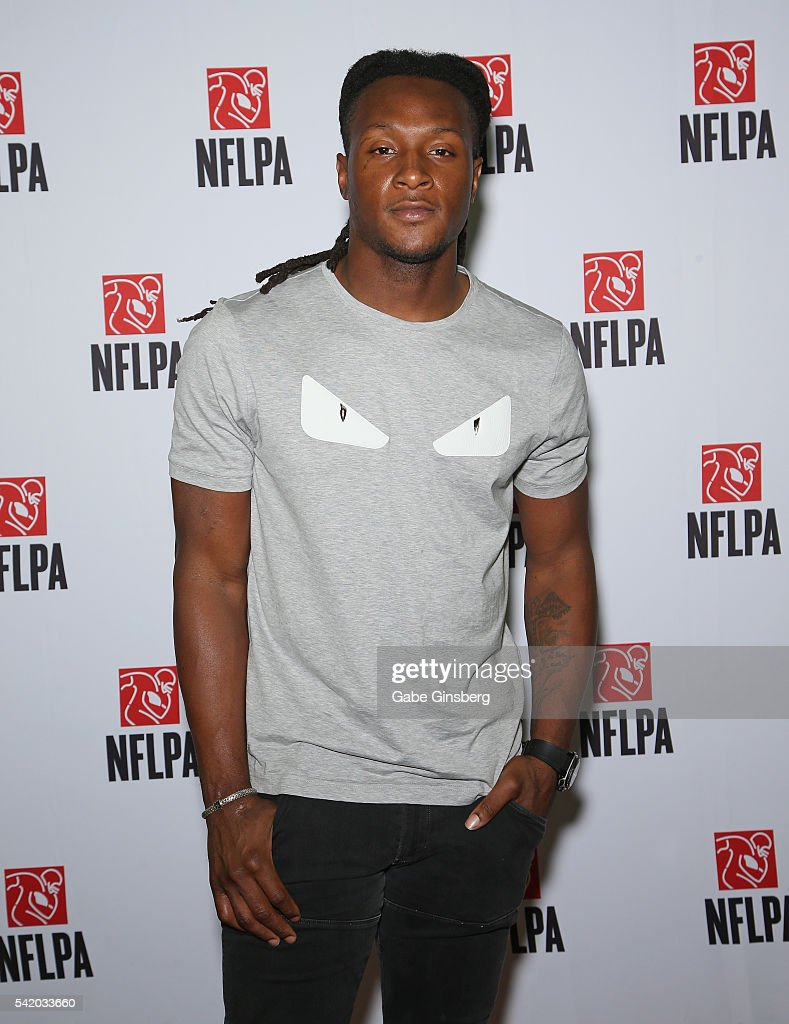 Wide receiver DeAndre 'Nuk' Hopkins of the Houston Texans poses at the NFLPA Sports Activation Zone during the Licensing Expo 2016 at the Mandalay...