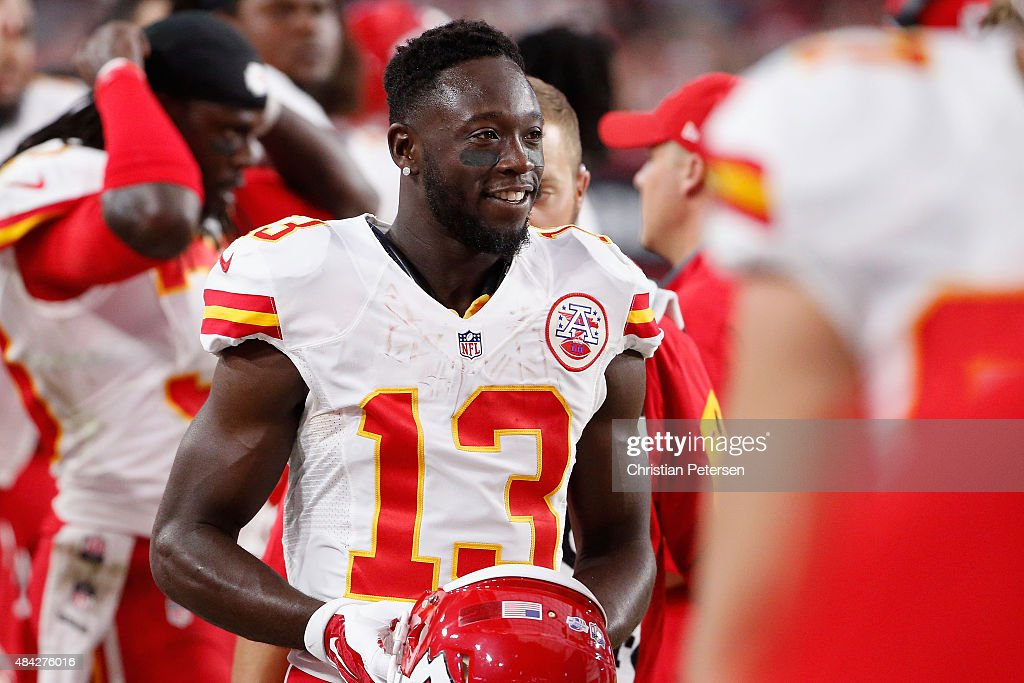 Wide receiver <a gi-track='captionPersonalityLinkClicked' href=/galleries/search?phrase=De%27Anthony+Thomas&family=editorial&specificpeople=8222432 ng-click='$event.stopPropagation()'>De'Anthony Thomas</a> #13 of the Kansas City Chiefs stands on the sidelines during the pre-season NFL game against the Arizona Cardinals at the University of Phoenix Stadium on August 15, 2015 in Glendale, Arizona. The Chiefs defeated the Cardinals 34-19.