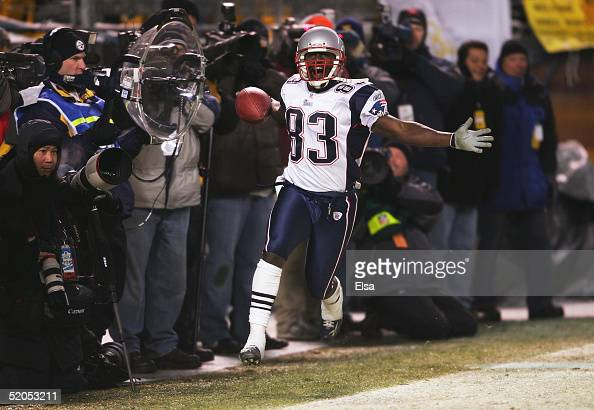 Wide receiver Deion Branch of the New England Patriots celebrates his second touchdown against the Pittsburgh Steelers in the AFC championship game...