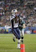 Wide receiver Deion Branch of the New England Patriots makes a 21yard catch against the Philadelphia Eagles in the third quarter during Super Bowl...